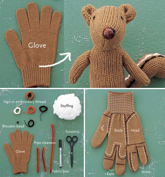 как сшить мишку из перчатки
