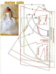 выкройка свадебного  платья  для куклы