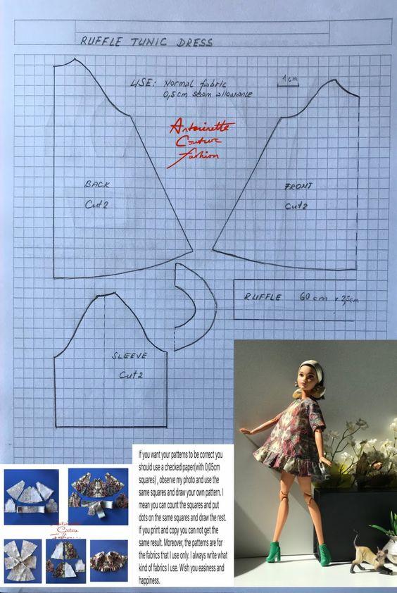 выкройка короткого платья с оборками для Барби